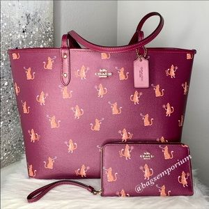 Coach Party Cats Large Reversible Tote Wallet Set